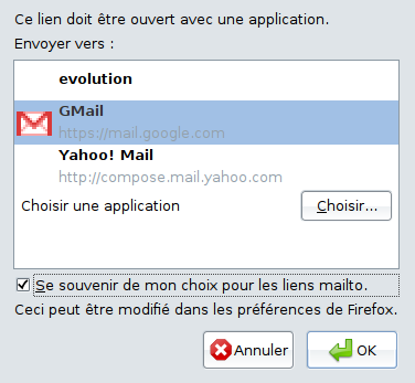 Configuration de l'application par défaut